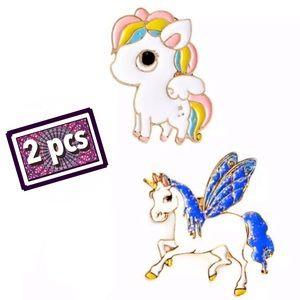 Set of 2 Unicorn Pins Sparkly Fantasy Cartoon Pin